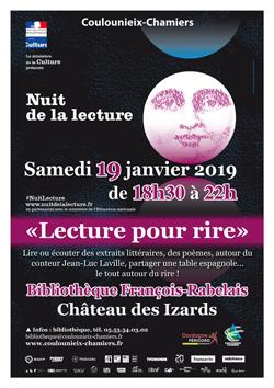 Affiche Nuit de la lecture - janvier 2019