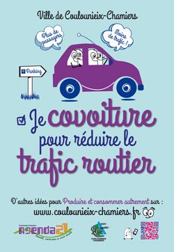 Affiche AG21 Je covoiture pour réduire le trafic routier